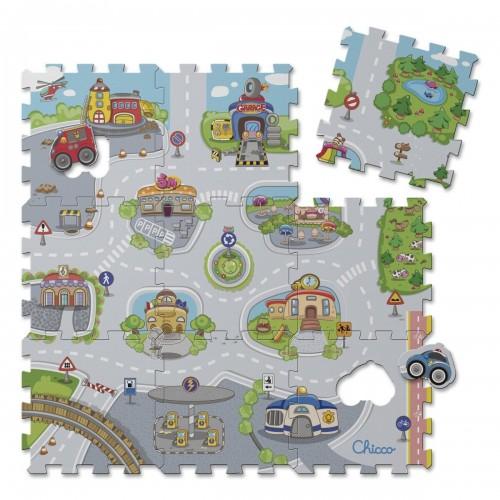 Alfombra puzzle 9 piezas Chicco diseño ciudad