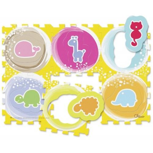 Alfombra puzzle 6 piezas Chicco animales